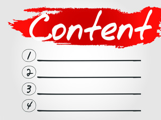 Content Blank List, vector concept background
