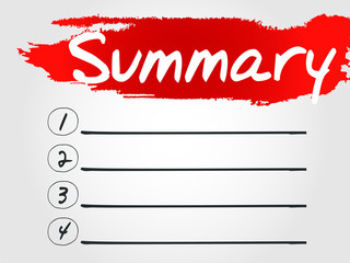 Summary Blank List, vector concept background