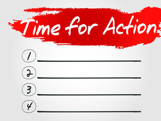Time for Action Blank List, vector business concept background