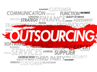 Outsourcing business concept in word tag cloud, vector