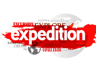 Expedition travel concept in word tag cloud, vector background