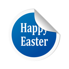 "Round blue sticker with the words ""Happy Easter"" vector svg"