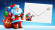 Santa Claus with a bag of gifts holding an envelope