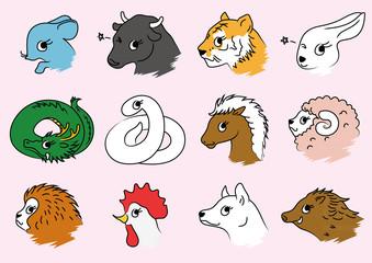 十二支のイラスト、正月の動物