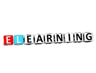 3D Word E-Learning on white background