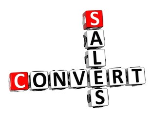 3D Crossword Convert Sales on white background