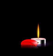 candle and red petal