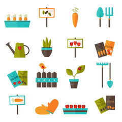 Gardening set icons over white