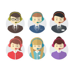 Call center operator icons with a smiling friendly man and woman