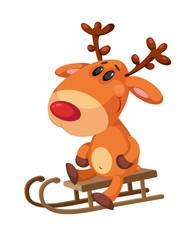 deer sitting on a sled