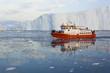 Midnight sailing in Ilulissat Icefjord, Greenland.