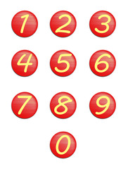 set red buttons with numbers.