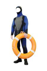 mannequins in a diving suit