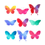 Fototapety watercolor butterflies set isolated on white