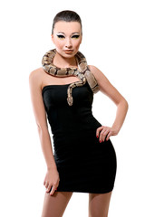 Beautiful woman with snake on white background.
