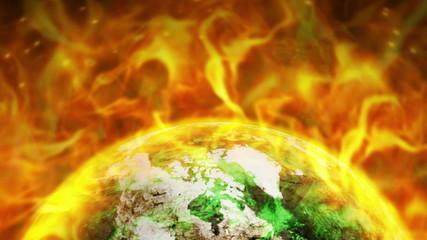 Fiery Destruction Earth Background