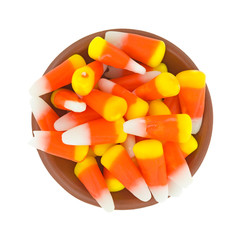 Halloween candy corn in a small bowl