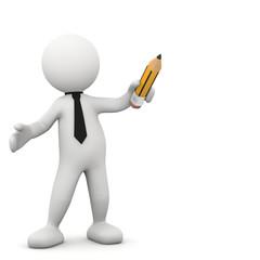 omino bianco con matita
