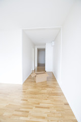 Empty room with a cardboard box