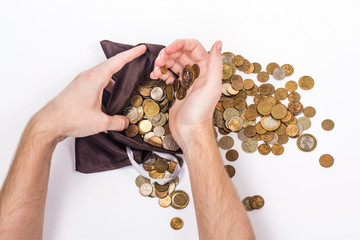 two male hands holding a money