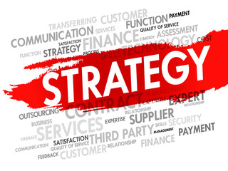 Strategy concept in word tag cloud, vector background