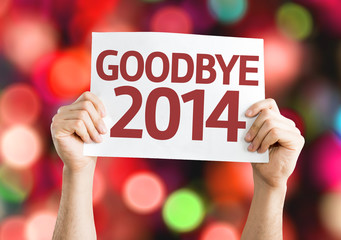 Goodbye 2014 card with colorful background