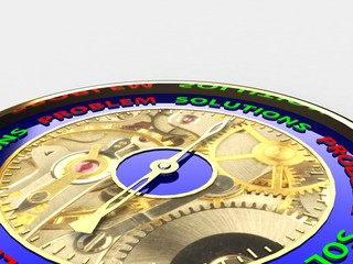 Compass with the needle motivational words conceptual 3D render