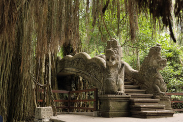 temple in the ubud monkey forest