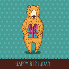 Cute cartoon bear with blue gift box. Vector illustration. Happy
