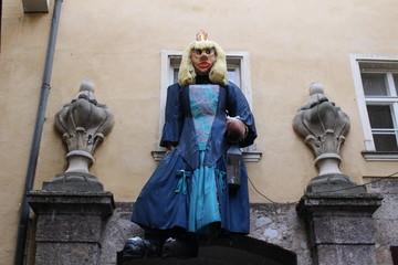 An ogre princess as a Christmas decoration in Innsbruck, Austria