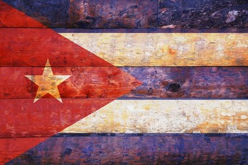 Cuba flag in old wooden.