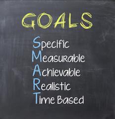 Smart goals on blackboard