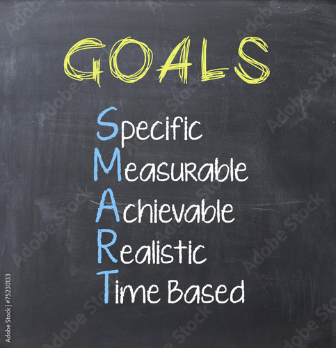 Leinwanddruck Bild Smart goals on blackboard