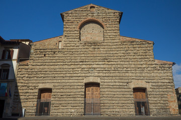Front view of famous Sagrestia Vecchia in Florence