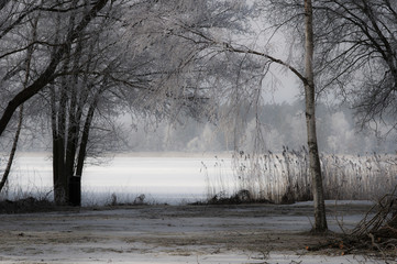 winter landscape frozen lake