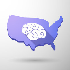 USA map icon with a brain