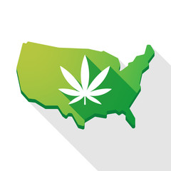 USA map icon with a marijuana leaf