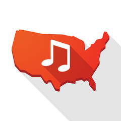 USA map icon with a note music