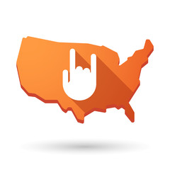 USA map icon with a hand