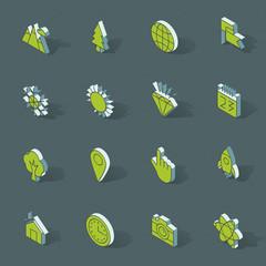 Vector isometric flat design icon set