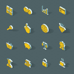 Vector isometric flat design icon set