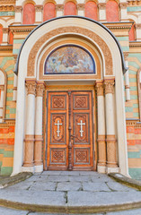 Entrance of Alexander Nevsky Cathedral (1884) in Lodz, Poland