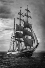 Old ship sailing. In black and white