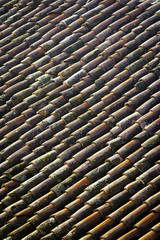 Pattern of old roof tiles. Color image