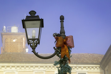 Govone Castle - Cuneo - street light. Color image