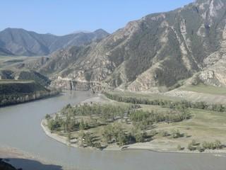 Katun River among the Altai Mountains