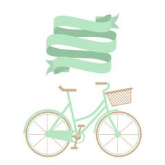 Hand drawn blue bicycle and ribbon