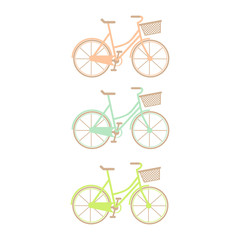 Set of three hand drawn bicycles