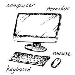Hand drawn computer. Vector illustration.