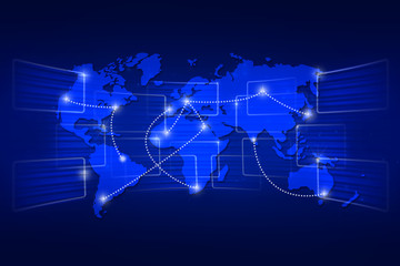 World map geography world order background shipping blue